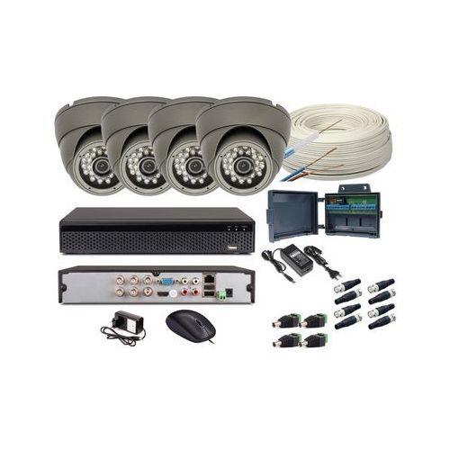 Zestaw monitoring 4 kamery hd + zasilanie + akcesoria + przewód marki Olsznet systemy zabezpieczeń