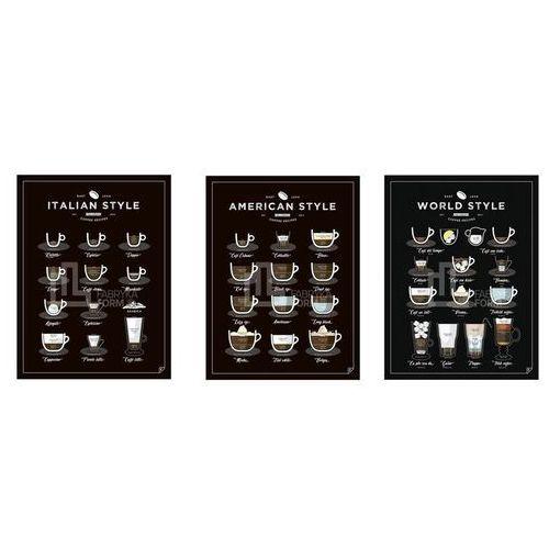 Plakat American, World, Italian Style Coffee 3 szt. 30 x 40 cm, zeswscen3040