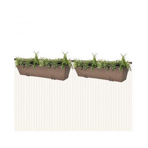 Donice balkonowe prostokątne 2 x 80 cm w kolorze brąz - oferta [054e2579d7d1b439]