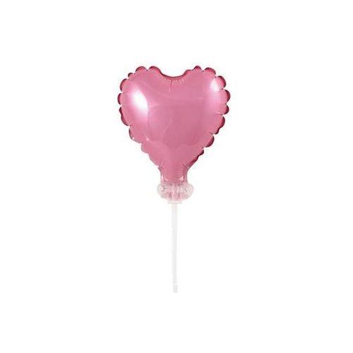 Balon foliowy różowe serce do patyka - 8 cm - 1 szt marki Go