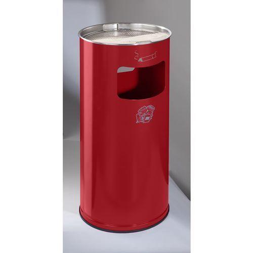 Var fahrzeug- und apparatebau Popielniczka combi, okrągła, blacha stalowa, wys. 700 mm, Ø 320 mm, czerwona. ok