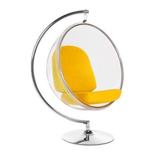 King home Fotel bubble stand poduszka żółta - podstawa chrom, korpus akryl, poduszka wełna