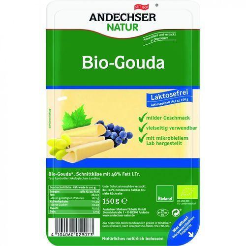 Ser gouda w plastrach 48% bez laktozy BIO 150 g Andechser Natur (4104060029073)