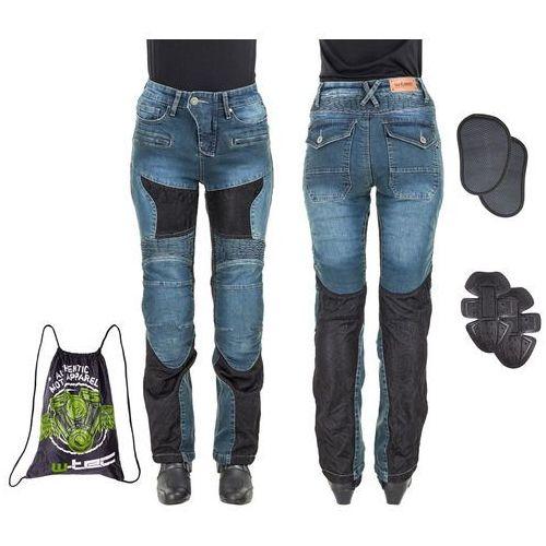 W-tec Damskie jeansowe spodnie motocyklowe bolftyna, niebieski-czarny, l