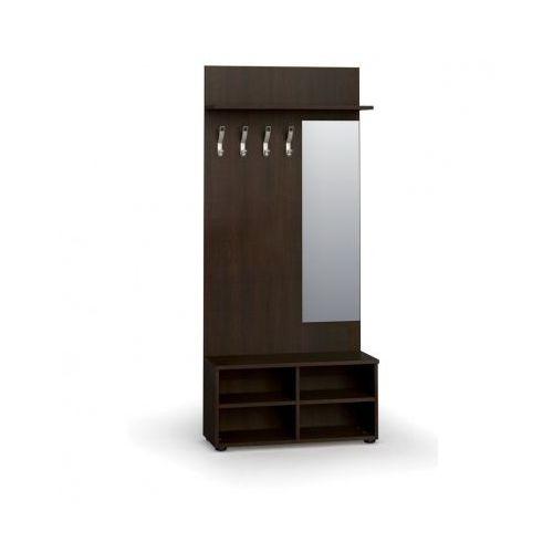Garderoba z półką na buty i lustrem, 4 haczyki, półka, wenge marki B2b partner