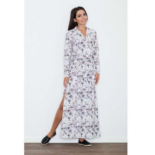 Figl Długa sukienka szmizjerka w kwiaty wzór 70