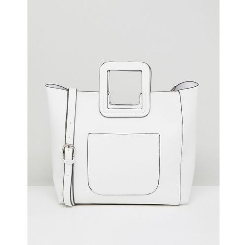 French connection tote bag with structured handle and detachable across body strap - white