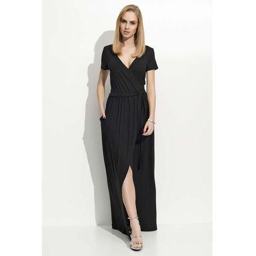 Czarna Sukienka Letnia Maxi na Zakładkę, DF20bl