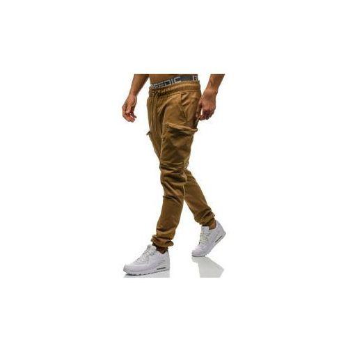 Spodnie joggery bojówki męskie camelowe denley 0475 marki Athletic