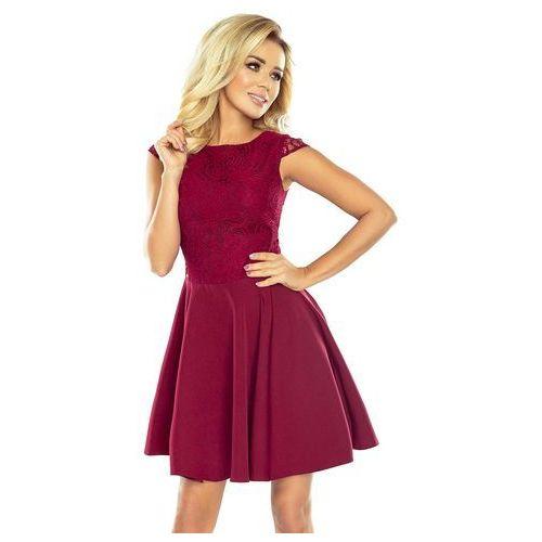 94660a5d00 Bordowa sukienka elegancka rozkloszowana z koronką marki Numoco 189