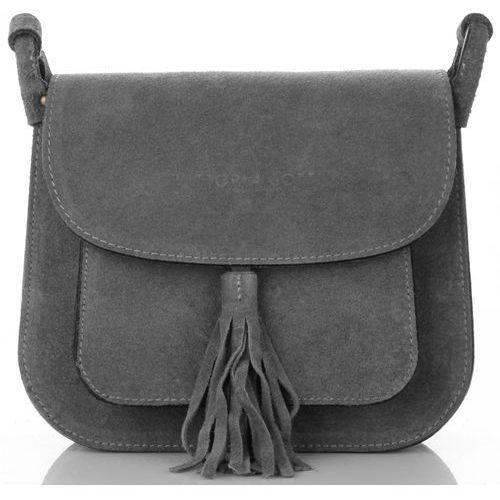 bb8c1389ece09 włoskie torebki skórzane listonoszki na każdą okazję w całości wykonane z wysokiej  jakości zamszu naturalnego szare (kolory) marki Vittoria gotti 169,00 zł ...