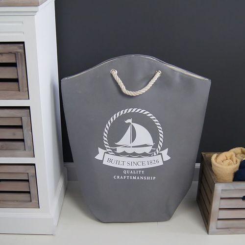 Torba plażowa, kosz na pranie, szaro-biały. marki Design by impresje24