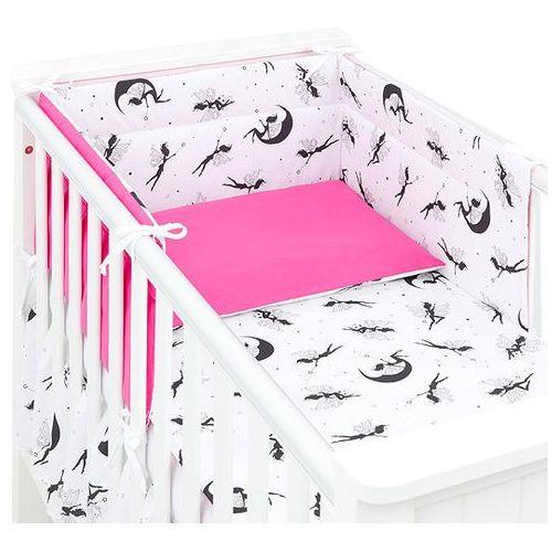 MAMO-TATO 3-el dwustronna pościel dla niemowląt Wróżki czarne / ciemny róż do łóżeczka 60x120cm, kolor różowy