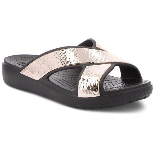Crocs Klapki - sloane hammered xstrp slide w 205136 black/rose gold