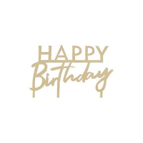Topper akrylowy na tort happy birthday złoty - 11 cm - 1 szt. marki Ginger ray
