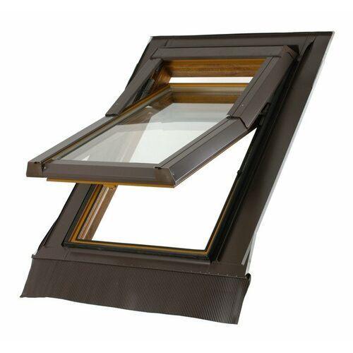 Okno dachowe DOBROPLAST SkyLight Premium Termo 55x78 sosna PVC oblachowanie szare