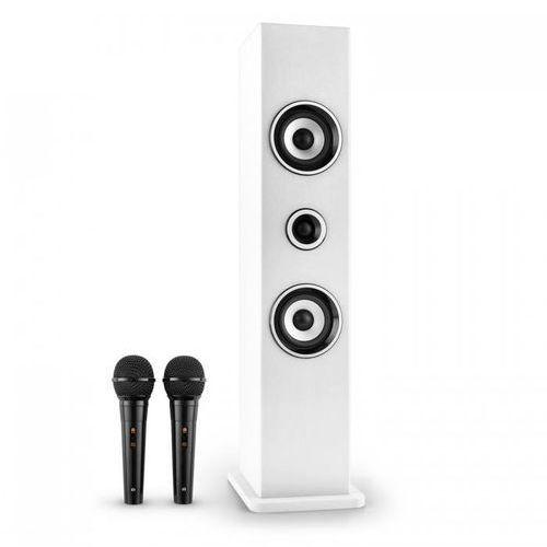 Karaboom Głośnik Bluetooth USB AUX karaoke 2 x mikrofon biały