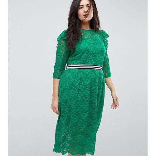midi lace tea dress with sports tipping - green, Asos curve