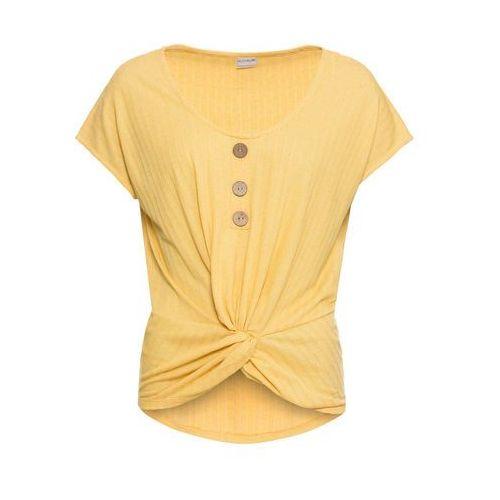 Bluzka z koronką bonprix stary jasnoróżowy, kolor żółty