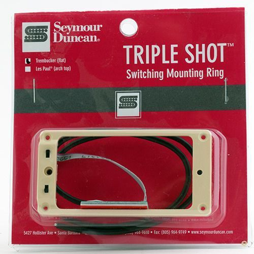 Seymour duncan sts 1 blk triple shot, neck/bridge switching mounting ring, flat/trembucker - creme