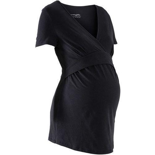 Shirt ciążowy i do karmienia, dekolt w serek, krótki rękaw bonprix czarny