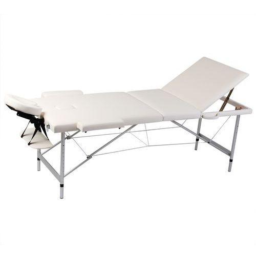 vidaXL Kremowy składany stół do masażu 3 strefy z aluminiową ramą - sprawdź w wybranym sklepie