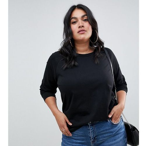 Asos design curve top in super oversized fit with long sleeve in black - black marki Asos curve