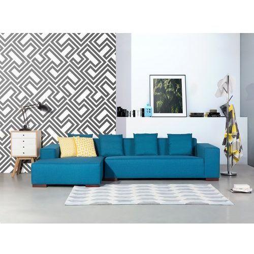 Sofa niebieska - sofa narożna P - tapicerowana - LUNGO (7081458343683)