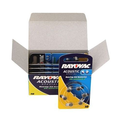 600 x baterie do aparatów słuchowych Rayovac Acoustic Special 10