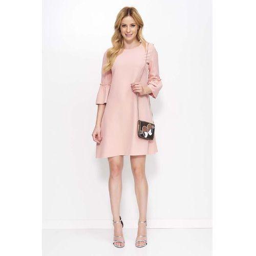 812fb5466b Różowa Sukienka Trapezowa Mini z Marszczeniem na Rękawach 139