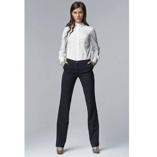 6423f8751b0e58 Granatowe eleganckie spodnie damskie bootcut marki Nife 122,90 zł Material:  poliester 60%, wiskoza 35%, elastan 5%.Dostepne wymiary: XS (34), S (36),  ...