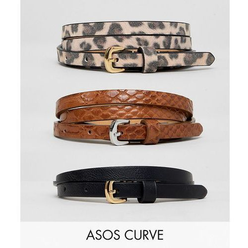 Asos curve Asos design curve 3 pack waist and hip jeans belts in snake & leopard - multi