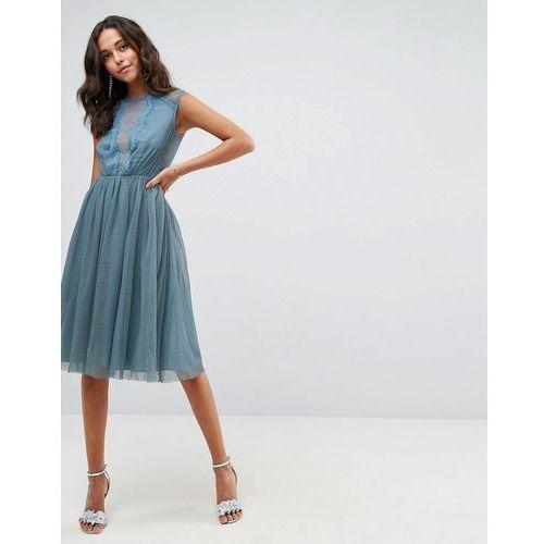 tulle cap sleeve midi dress in tonal lace - blue marki Asos