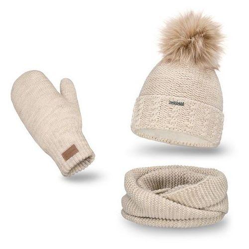 Komplet PaMaMi, czapka, komin i rękawiczki - Beżowy - Beżowy (5902934055154)