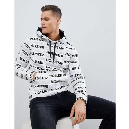 Hollister colour block all over logo print hoodie in white - White, kolor biały