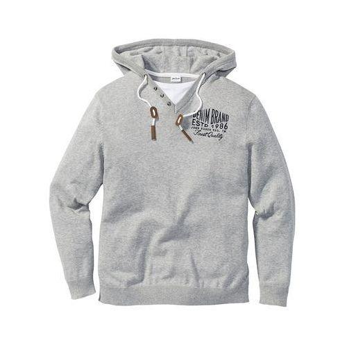 Sweter z kapturem regular fit jasnoszary melanż, Bonprix, L-XXL