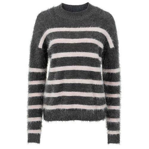Sweter dzianinowy antracytowo-jasnoróżowy w paski, Bonprix, 32-46