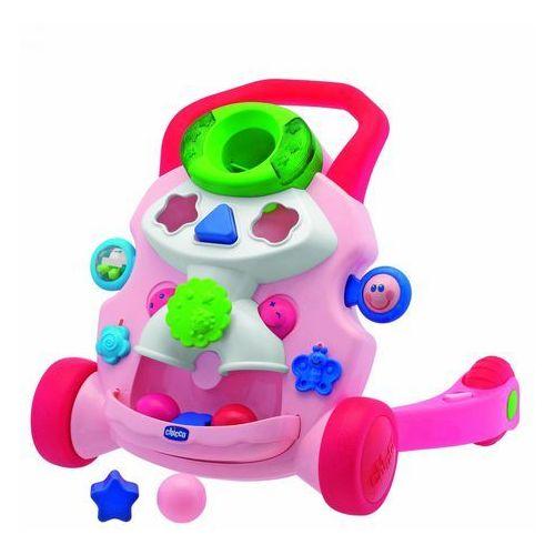 Chodzik pchacz grający różowy, zabawka interaktywna CHICCO