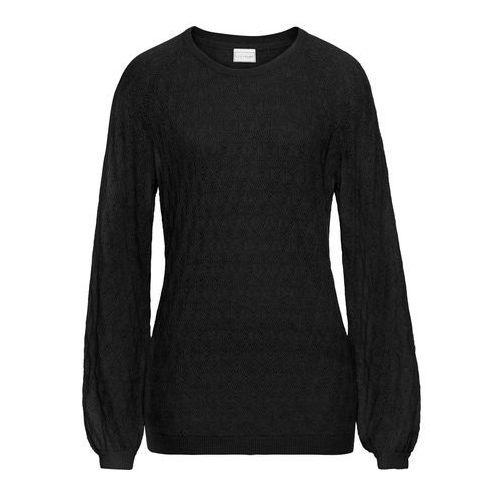 Letni sweter ażurowy bonprix czarny, kolor czarny