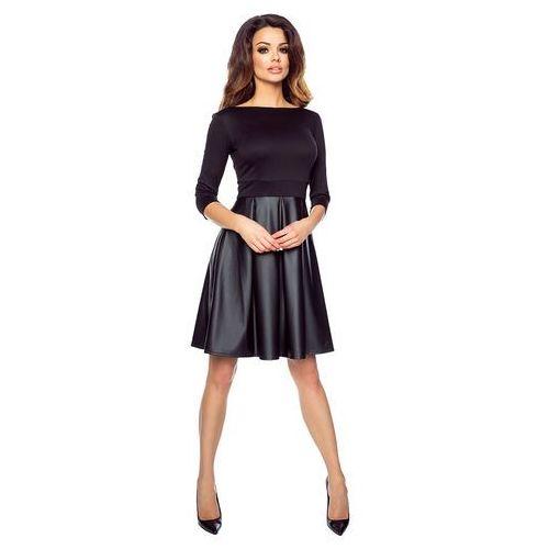 3cc15db261 Czarna Elegancka Sukienka z Szeroką Spódnicą z Eko-skóry z Rękawem 3 4  159