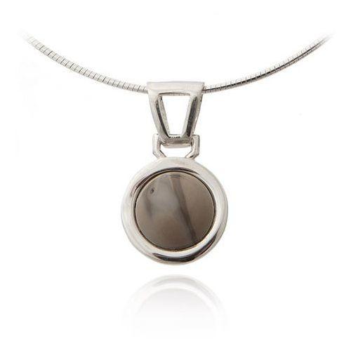 Anka biżuteria Wisiorek srebrny z krzemieniem pasiastym, szara
