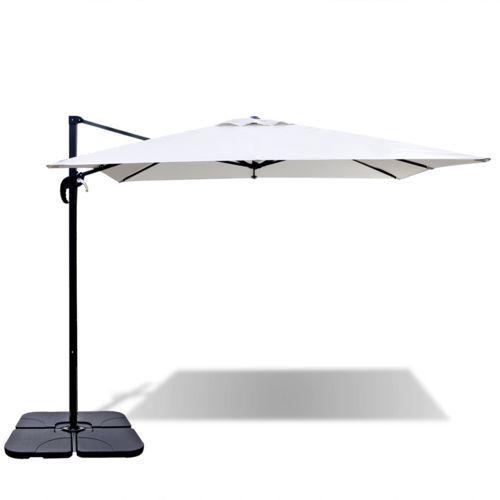 vidaXL Biały parasol ogrodowy ROMA z przenośną podstawą 2,5 x m (8718475926382)