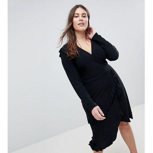 frill detail wrap dress - black marki Asos curve