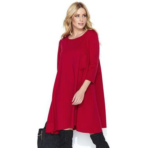 Czerwona Wizytowa Sukienka Trapezowa z Rękawem ¾, kolor czerwony