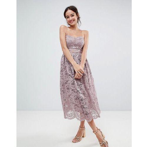 design bandeau lace midi prom dress - pink, Asos