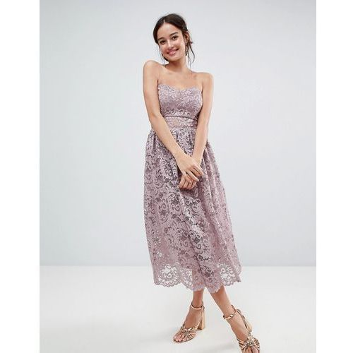 design bandeau lace midi prom dress - pink marki Asos