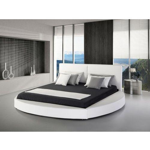 Beliani Nowoczesne łóżko skórzane białe - 180x200cm - ze stelażem - laval