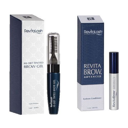 zestaw   revitabrow advanced 1,5ml, hi-def tinted brow gel dark brown 7,4ml marki Revitalash
