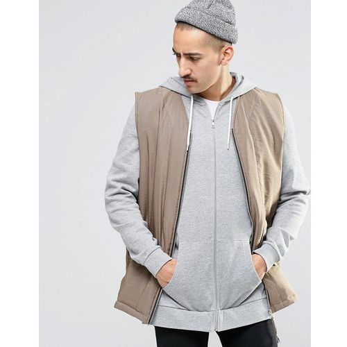 sleeveless bomber jacket in putty - brown, Asos