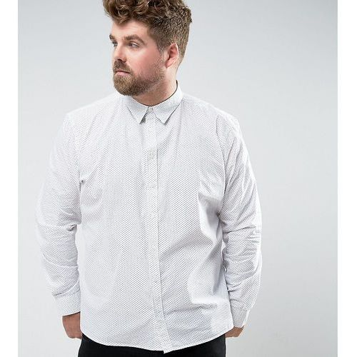 French connection plus shirt in slim fit with printed dot detail - white